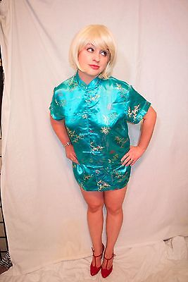Auth Vtg Blue Embroidered Xl 100% Silk Woven Floral Design Chinese Blouse Top
