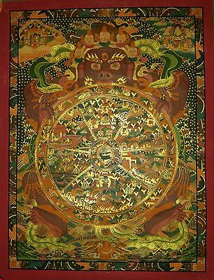 Original Master piece Tibetan chinese wheel of life thangka painting