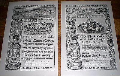 Lot of 2 Print Ads ~ 1906 DURKEE'S SALAD DRESSING & MEAT SAUCE