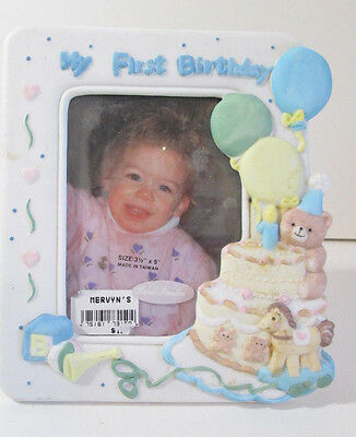 """My First Birthday Frame 3.5""""x5"""" Photo Hand Painted New"""