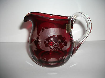 Egermann Dark Ruby Red And Clear Glass Cream Pitcher