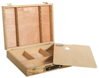 Mont Marte Large Birch Wood Brush and Paint Box with Palette