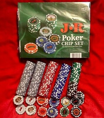 Brand New Casino Grade JR Cigars Clay Poker Chips (250 Piece Set)