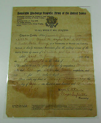 Vintage World War I United States Army Military Honorable Discharge Paper 1919