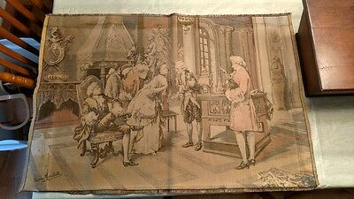 Vintage French Tapestry Wall Hanging Parlor SceneTrio Recital ByDarpes Marchetti