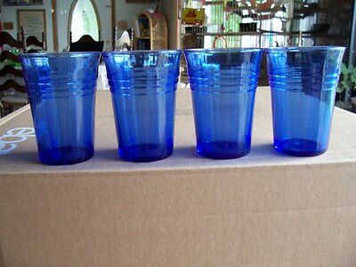 "Moderntone 4 1/8"" cobalt blue smooth sided 9 oz tumblers (4)"