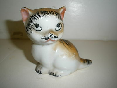"vintage ceramic cat figurine 3"" tall white, black, gold"