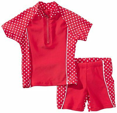 (TG. 110/116 cm) Rosso (Red/White Dots) Playshoes - Costume da bagno, Bambina, R