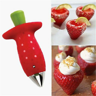 Strawberry Berry Stem Leaves Huller Remover Fruit Corer Kitchen Tool Portable