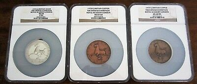 China Set of 1974 Chinese Exhibition Silver, Copper, Brass Medal NGC MS68-69 FSH