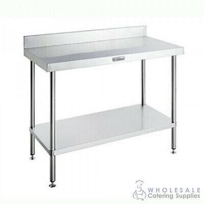 Workbench with Undershelf & Splashback 2400x700x900mm Simply Stainless KitchenWo