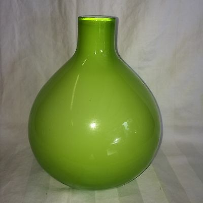 """COLOURFUL LIME GREEN WITH WHITE CASED TEAR DROP ART GLASS VASE  7"""" Tall"""