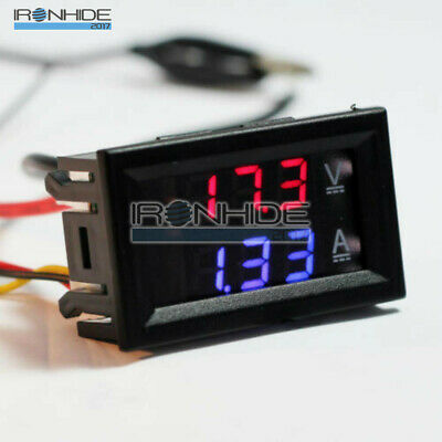 DC 100V 10A Voltmeter Ammeter Blue + Red LED Digital Volt Meter Gauge
