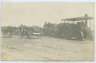 1913 Rp Postcard Steam Tractor Towing Grain Wagons Inverleigh Victoria  K16