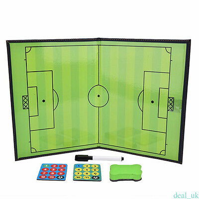 Folding Magnetic Football Coaching Board Soccer Training Tactics Book Set + Pen