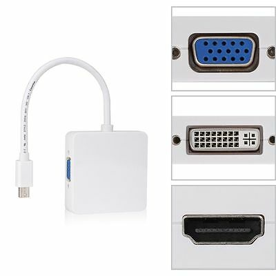 3In1Mini Display Port DP Thunderbolt to DVI VGA HDMI Adapter Cable For MacBook k