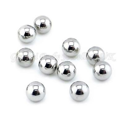 10 x Surgical Steel Balls 14G 1.6mm x 4mm Will fit 1.6mm bars BELLY   TONGUE ECT