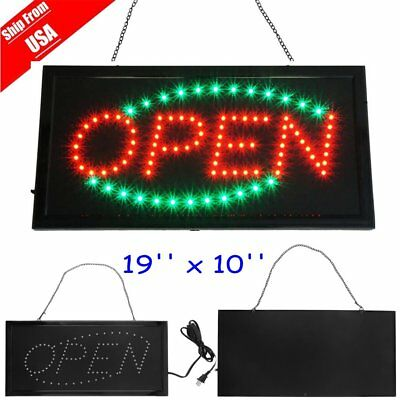 Bright Animated Green Red LED Open Store Business Sign Shop Flash Neon Light B2