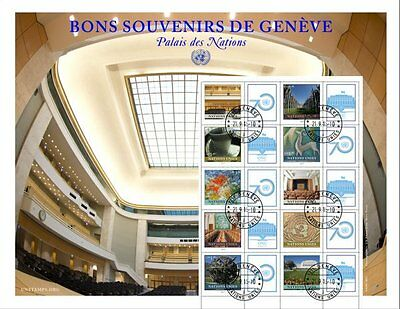 UN 2015 - Greetings From Geneva - Personalised Stamp Sheet - CTO (S66a)