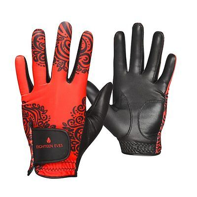 Ladies Golf Glove Cabreatta Leather -  Paisley Red Black