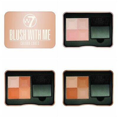 W7 BLUSH WITH ME CUBES Powder Blusher Brick with brush in TIN choose shade