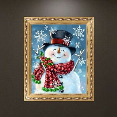 DIY 5D Diamond Embroidery Happy Snowman Painting Cross Stitch Crafts Home Decor
