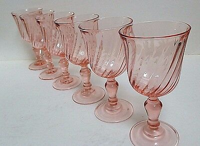 Set of six French Vintage Pretty Pink 'Rosaline' Small Wine Glasses by Arococ