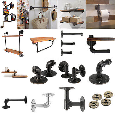 32Types Vintage Retro Black Iron Industrial Pipe Shelf Bracket Holder Home Decor