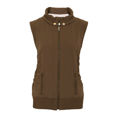 Green Lamb Windproof Gilet with Ruched Contouring Detail