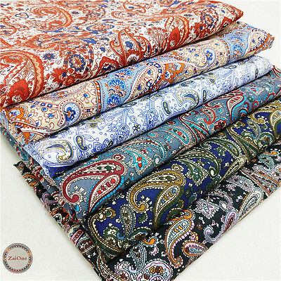 Vintage Paisley Floral Printed Fabric Cotton Like Bandana Upholstery Quilting