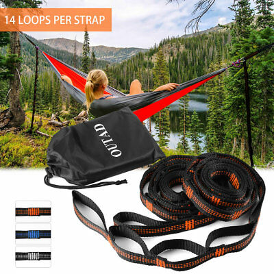OUTAD 2 pcs Hammock Tree Straps Set Versatile 14 Loops No Stretch Kit Outdoor XP