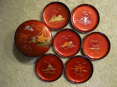 Vintage hand painted Lacquer Coaster Set Of 6 In Box  Made Japan