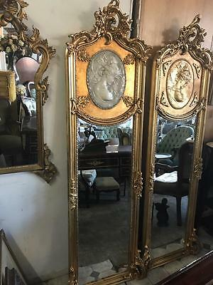 Tall Antique Baroque French Cameo Trumeau / Pier Gold Floor / Wall Mirror