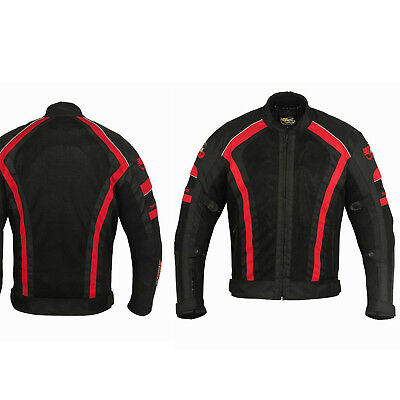 Motorcycle Motorbike Red Air Vented Summer Waterproof Textile Armour Jacket