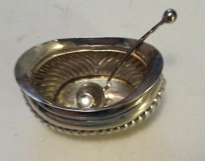 Antique British Made Oval Sterling Silver Salt Cellar And Spoon -  Excellent