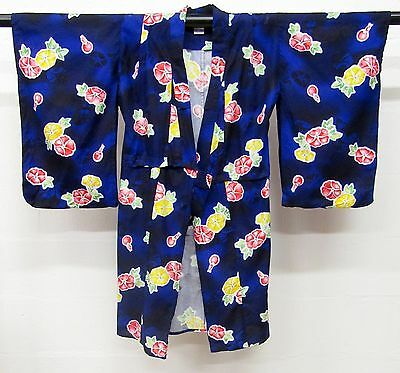 Vintage Kimono Short Robe Wrap Oriental Size Small Blue Red Yellow Floral