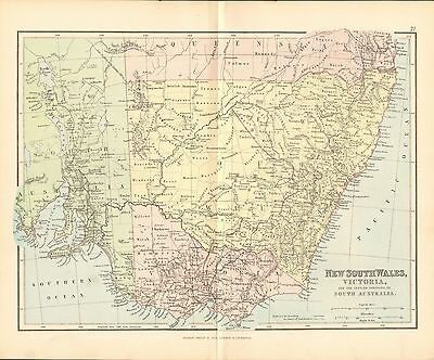 1887 Antique Map- New South Wales,victoria And Settled Portions Of Sth Australia