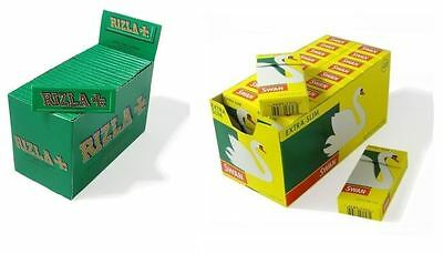 Swan Extra Slim Filter Tips Smoking & 600 x Rizla Green Regular Rolling Papers