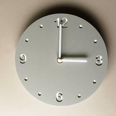Round Light Grey Mat Clock, White Backed, White Hands & Silent Sweep Movement
