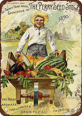 """7"""" x 10"""" Metal Sign - 1893 Perry Seed Store - Vintage Look Reproduction"""