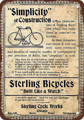 "7"" x 10"" Metal Sign - 1896 Sterling Bicycles - Vintage Look Reproduction"