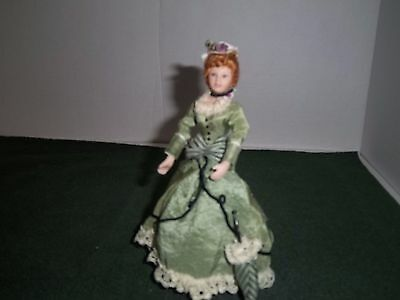 Dollhouse Doll 1:12 Scale -Victorian Lady Doll in Green