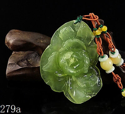 100% Natural Hand-carved Icy Jade Pendant jadeite Necklace peony flower 279a