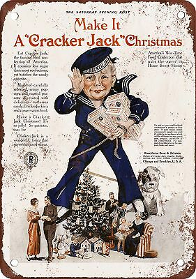 "7"" x 10"" Metal Sign - 1918 Cracker Jack Christmas - Vintage Look Reproduction"