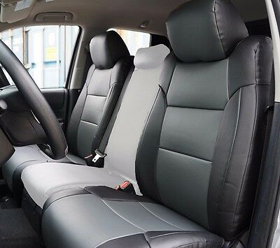 Toyota Tundra 2014-2016 Black/charcoal S.leather Custom Made Front Seat Cover