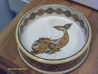 Vintage Mottahedeh FISH Bowl  Gold & CREAM Porcelain Italy 9 x 2 3/4 inches