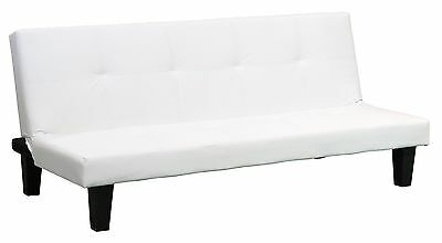 White Clic Clac Sofabed, Modern Faux Leather Sofa Bed 3 Seater Fold Down Guest