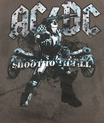 AC/DC Iron Man 2 Shoot To Thrill L Brown T-shirt War Machine Monochrome 2010