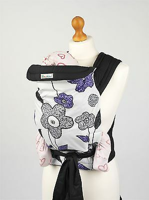 New Mei Tai Baby Sling Reversible Carrier in Purple Grey Floral Design