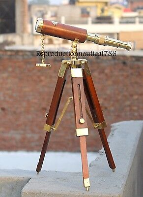 Solid Brass Spy Glass Marine Telescope Wooden Stand Desk Collectible Decorative